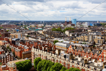Aerial View from Westminster Cathedral on Roofs and Houses of London