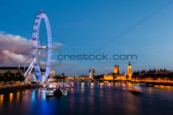 London Eye, Westminster Bridge and Big Ben in the Evening, London
