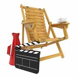 Director's Chair with Clap Board and Megaphone.