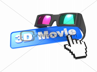 Web Button with Cursor and Anaglyph Glasses.