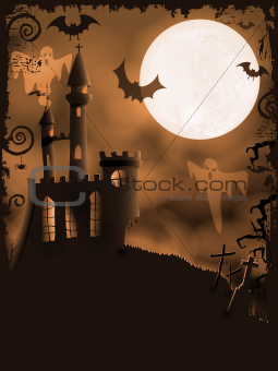 Spooky Halloween castle, vector background