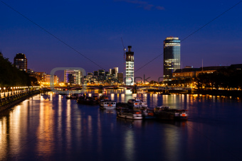 Thames River and London Cityscape in the Night, United Kingdom