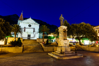 Saint Mark Cathedral in Makarska at Night, Croatia
