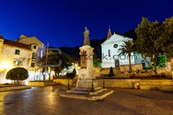 Saint Mark Cathedral in Makarska at Night, Croatia
