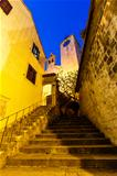 Stairway to Old Church in the Town of Omis, Croatia