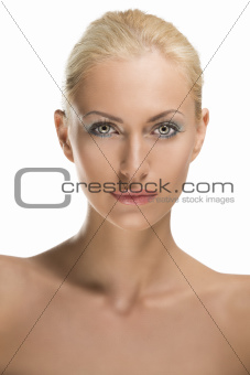 beauty portrait of blonde girl with calm expression