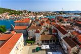 Aerial View on Trogir and it&#39;s Main Square from Cathedral of Sai