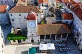 Aerial View on the Main Square of Trogir from Cathedral of Saint