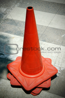 group old traffic cone