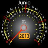 2013 year calendar speedometer car in Spanish. June