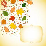 figured invitation card with autumn leaves and dots
