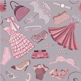 Background with women&#39;s clothing