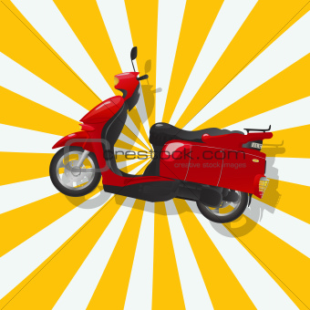 The fantastic shiny red scooter