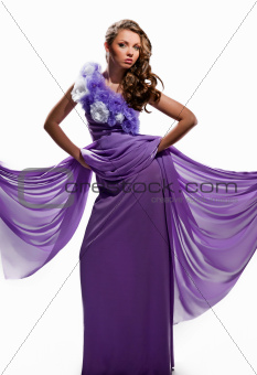 woman in the purple dress
