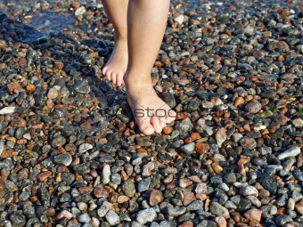 Barefoot child on the wet beach