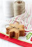 Gingerbread cookies on tea towel