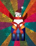 Christmas Penguin with Snowflakes and Colorful Rays Background I