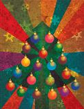 Christmas Tree with Ornaments on Rays Background