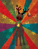 Christmas Reindeer with Bells on Rays Background