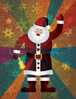 Christmas Santa Ringing Bell on Rays Background