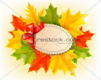 Card with leaves with a red bow.