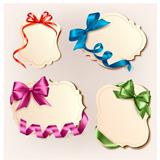 Set of beautiful cards with colorful gift bows with ribbons