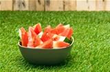 Bowl of watermelon slices in nice summer colors