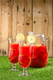 Chilled Orange Lemon Sangria in a summer setting