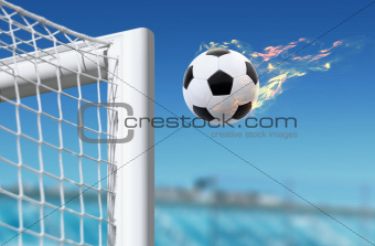 football flies in goalkeeper gate