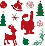 Set of christmas silhouette shapes