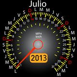 2013 year calendar speedometer car in Spanish. July