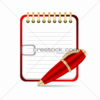 Red  Pen and notepad icon.