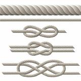 Seamless rope and rope with different knots.