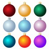Set of Christmas balls on white background.