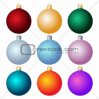 Set of Christmas balls on white background.