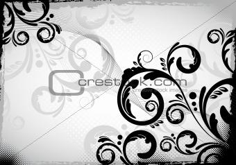 black grungy floral design