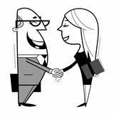 Shaking hands cartoon illustration.