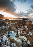 Sunrise ocean landscape Mupe Bay Jurassic Coast England