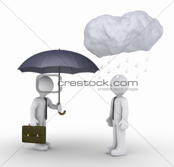 Businessman is giving umbrella to unlucky person