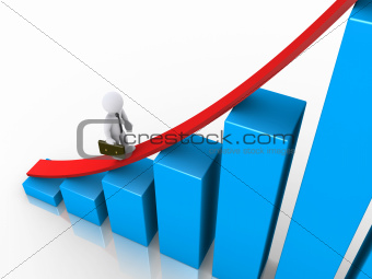 Businessman walking to the top of graph