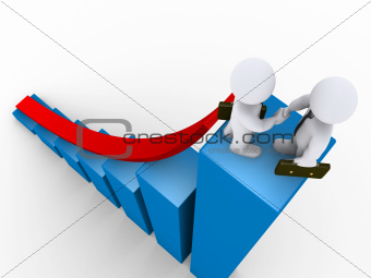Businessmen handshake on top of graph