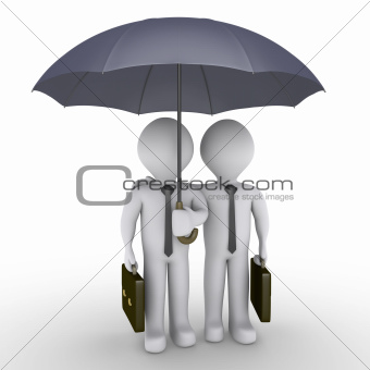 Two businessmen under one umbrella