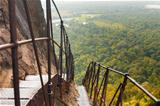 Sigiriya Rock Steep Metal Stairs Landscape Below