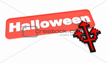 Halloween Button with Trident's Shaped Cursor.