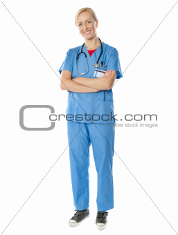 Aged medical professional with stethoscope
