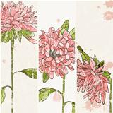 Background with hand drawn chrysanthemum and blots