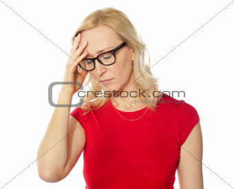 Frustrated pretty caucasian woman