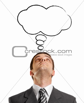 Businessman Looking Upwards With Speech Bubble