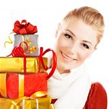 Beautiful female holding gifts