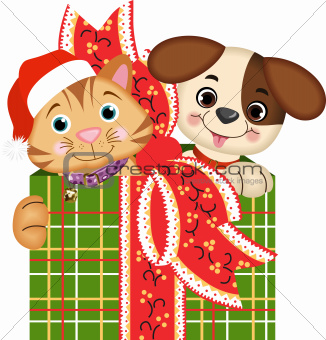 Scalable vectorial image representing a dog and cat Christmas gifts, isolated on white.